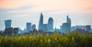 Sunset. City of London view at duck Royalty Free Stock Photos