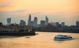 Sunset. City of London view at duck Stock Photo