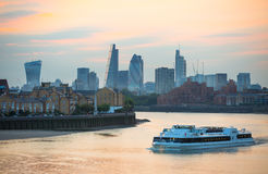 Sunset. City of London view at duck Royalty Free Stock Image