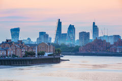 Sunset. City of London view at duck Stock Photos