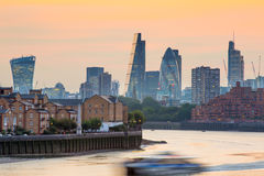 Sunset. City of London view at duck Royalty Free Stock Photography