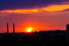 Sunset. In the city nature Stock Photography