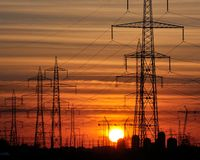 Sunset in electrical park. Sunset in oustside of city,in a place where is produce electricity Royalty Free Stock Image