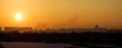 Sunset in a city panorama Stock Photography