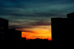 Sunset in a city Stock Image