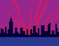 Sunset City Purple Stock Photo