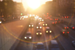 sunset city road with motion cars Stock Photography