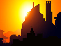 Sunset on City Sky scrapper -Vector Royalty Free Stock Photos