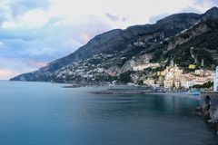 Sunset. City view . Amalfi. Campania. Italy royalty free stock image
