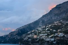 Sunset. City view . Amalfi. Campania. Italy stock photo