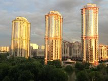 Sunset. City view building tower urban Royalty Free Stock Photos