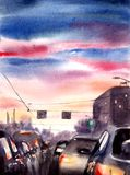 Sunset in the city - watercolor illustration stock illustration