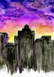 Sunset City Watercolor Royalty Free Stock Photo