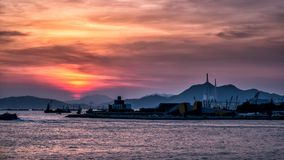 Sunset of City at waterfront Stock Photography
