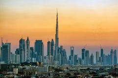 Sunset/CITYSCAPE在迪拜 免版税图库摄影