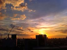 Sunset of cityscape Royalty Free Stock Photography