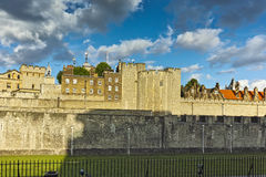 Sunset Cityscape of Historic Tower of London, England Stock Photos