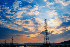 Sunset cityscape of power tower Royalty Free Stock Images