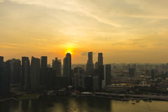 Sunset cityscape of the Singapore financial district and busines Stock Images