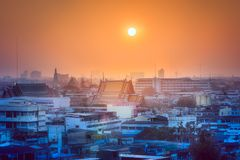 Sunset cityscape with skyscrapers Bangkok. Sunset cityscape with skyscrapers and slum Bangkok, Thailand Stock Photography