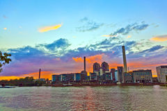 Sunset  with cityview of Frankfurt Royalty Free Stock Photos