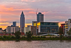 Sunset  with cityview of Frankfurt with river Main Stock Image