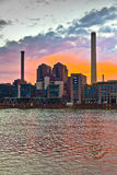 Sunset  with cityview of Frankfurt with river Main Stock Images