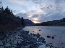 Sunset on the. Clear water river in idaho stock photo