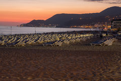 The sunset at the Cleopatra beach  in Alanya Royalty Free Stock Photos