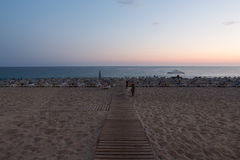 The sunset at the Cleopatra beach  in Alanya. Stock Image