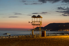 The sunset at the Cleopatra beach  in Alanya. Royalty Free Stock Photo