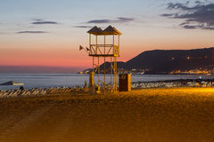 The sunset at the Cleopatra beach  in Alanya. Stock Images