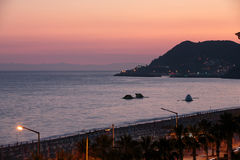 The sunset at the Cleopatra beach  in Alanya. Royalty Free Stock Photography
