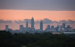 Sunset in Cleveland. Distant downtown view at sunset stock photography