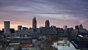 Sunset in Cleveland. Sunset in downtown Cleveland, Ohio royalty free stock image
