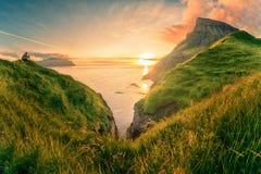 Sunset from the cliff near Gasadalur village at Faroe Islands