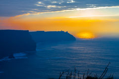 Sunset at Cliffs of Moher Royalty Free Stock Photo