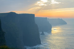 Sunset at Cliffs of Moher Royalty Free Stock Images