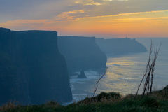Sunset at Cliffs of Moher Royalty Free Stock Image