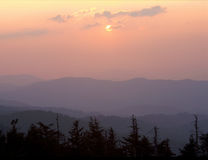 Sunset from Clingman`s Dome, Great Smoky Mountains National Park, North Carolina royalty free stock photography