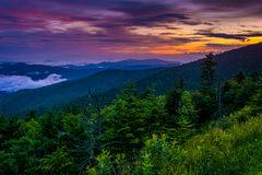 Sunset from Clingman's Dome, Great Smoky Mountains National Park Royalty Free Stock Photos