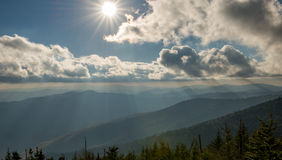 Sunset Great Smoky Mountain National Park. Photo of the smoky mountains before sunset at Clingmans Dome in Great Smoky Mountain National Park Royalty Free Stock Images