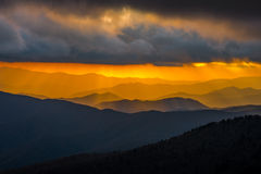 Sunset Great Smoky Mountain National Park. Photo of the smoky mountains sunset at Clingmans Dome in Great Smoky Mountain National Park Stock Photo