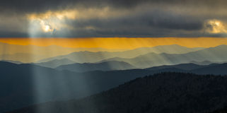 Sunset Great Smoky Mountain National Park. Photo of the smoky mountains sunset at Clingmans Dome in Great Smoky Mountain National Park Stock Photos