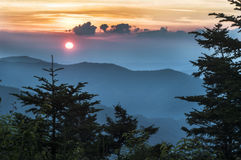 Sunset on Clingman's Dome in the Smokies royalty free stock photo