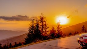 Sunset On Clingman`s Dome In Smoky Mountain National Park royalty free stock photos