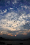 Sunset Cloud. White cloud, blue sky, just before sunset stock photography