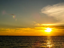 Sunset and cloud on horizon Stock Photography