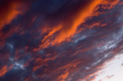 Sunset clouds. Dramatic sunset clouds stock photo