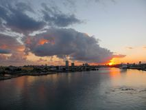 Sunset clouds above Puerto Rico port Royalty Free Stock Photography